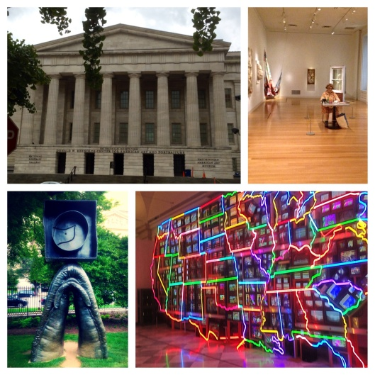 National Portrait Gallery. Joan Miro sculpture in the garden. The Electronic Superhighway.