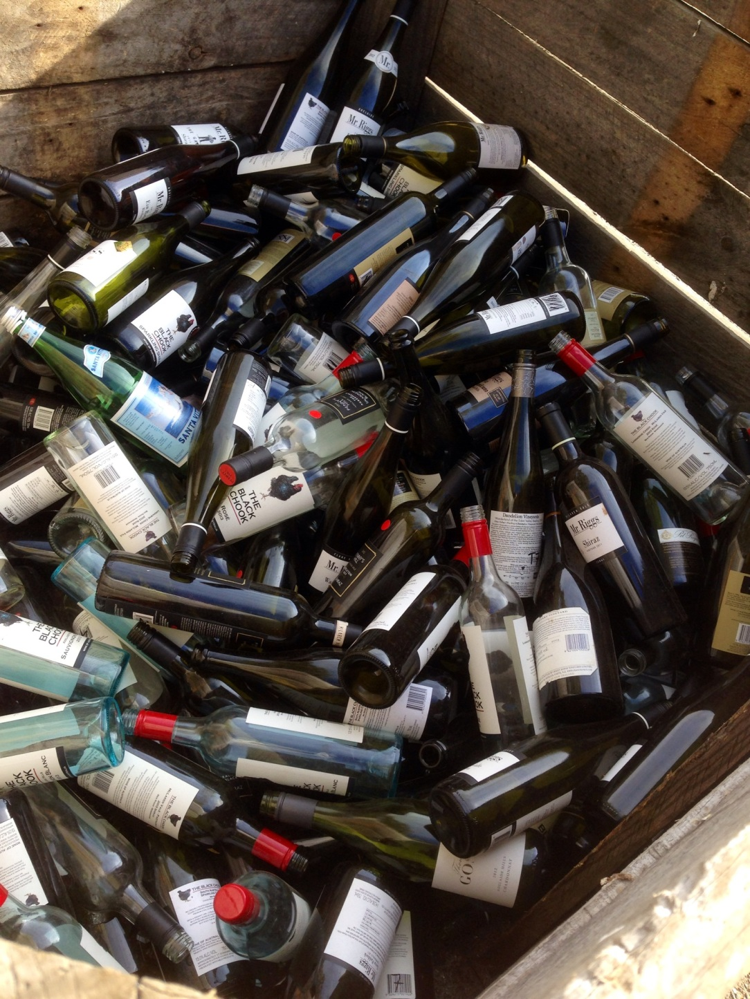 wine bottle recycling at Penny's Hill, McLaren Vale, South Australia
