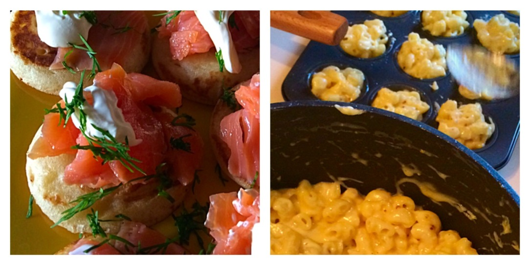 Scottish food - smoked salmon, macaroni cheese balls