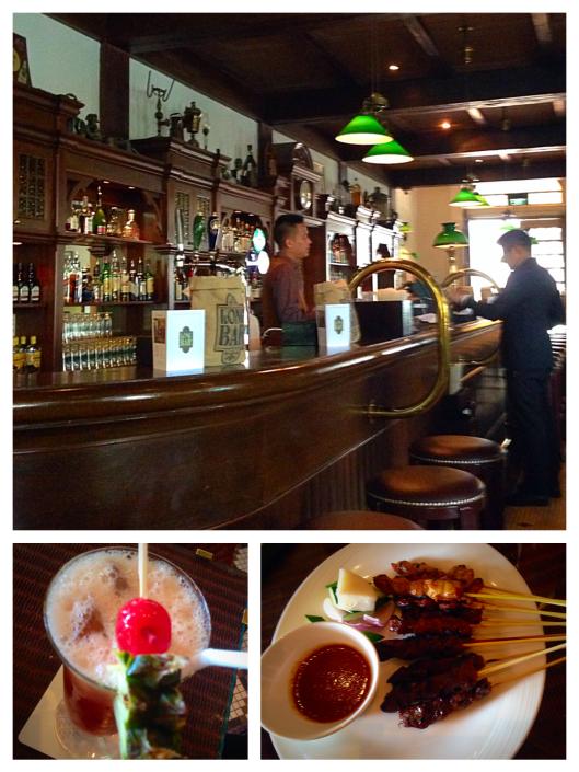 Long Bar, Raffles Hotel, Singapore sling and satays