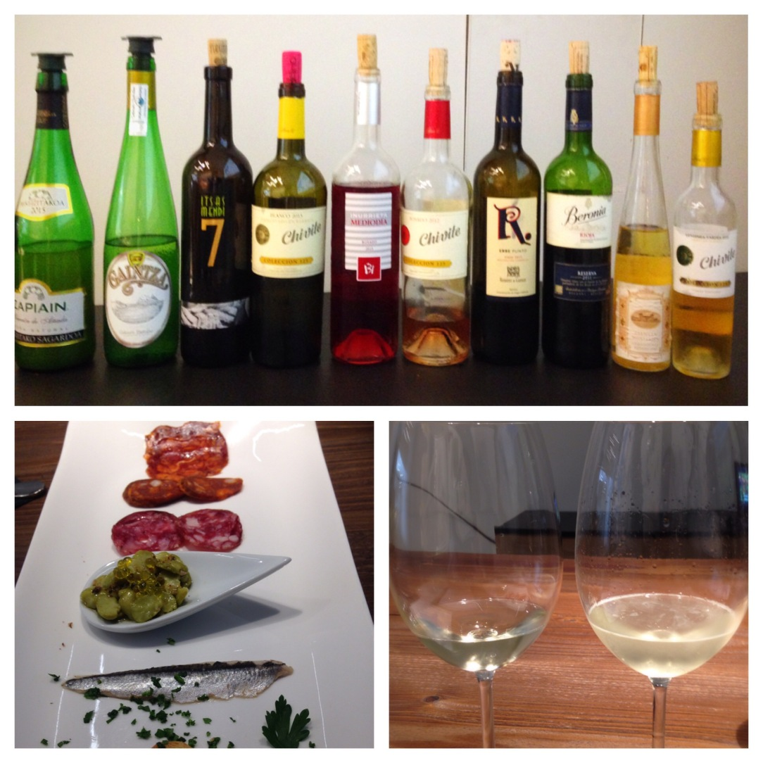 Wine tasting including Txakoli with paired foods at San Sebastian Food.